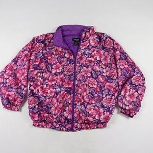 90s Womens Medium Floral Print Windbreaker Jacket